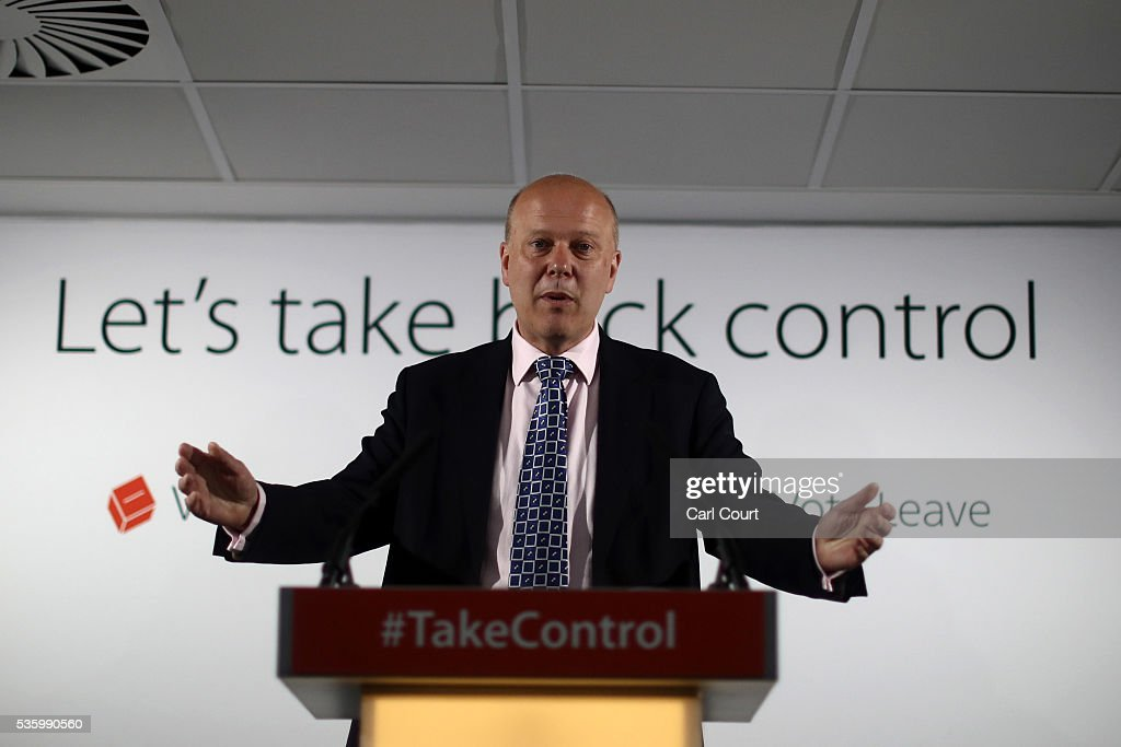 Leader of the House of Commons, Chris Grayling, speaks during a Vote Leave press conference on May 31, 2016 in London, England. Campaigning continues by both sides ahead of the EU referendum on June 23rd.