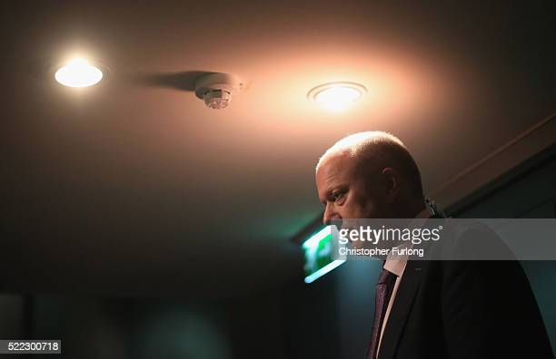 Leader of the House of Commons Chris Grayling takes part in a media interview as he attends a Grassroots Out rally at Victoria Hall on April 18 2016...