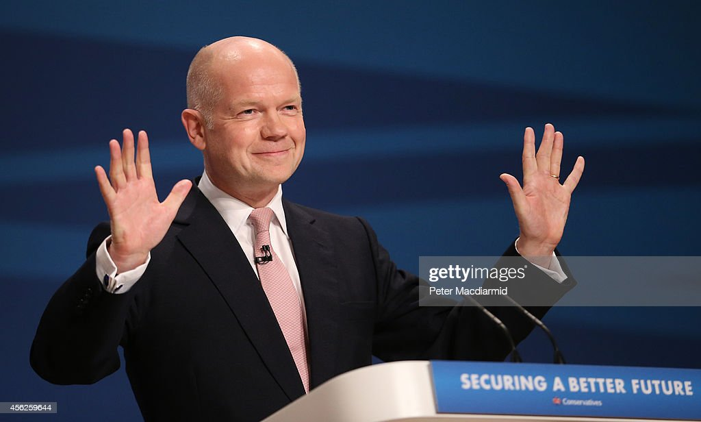 Leader of the House of Commons, <a gi-track='captionPersonalityLinkClicked' href=/galleries/search?phrase=William+Hague&family=editorial&specificpeople=206295 ng-click='$event.stopPropagation()'>William Hague</a>, addresses delegates at the Conservative party conference for the last time in his political career on September 28, 2014 in Birmingham, England. The governing Conservative party are holding their yearly conference over the next four days.