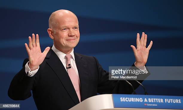 Leader of the House of Commons William Hague addresses delegates at the Conservative party conference for the last time in his political career on...