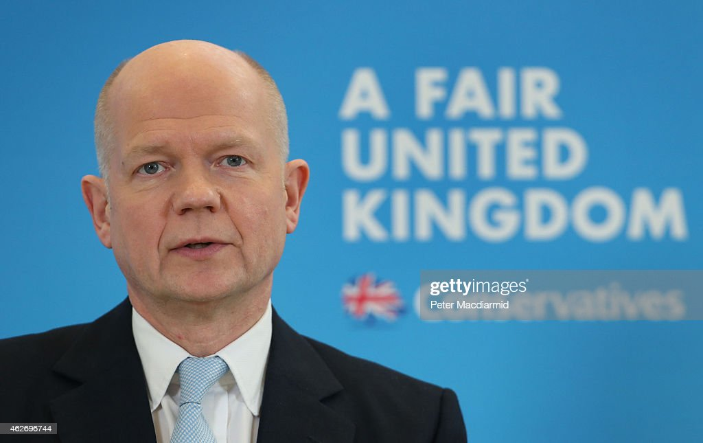 Leader of The House of Commons William Hague speaks at The Policy Exchange on February 3, 2015 in London, England. Former Foreign Secretary Hague is proposing that English Members of Parliament (MPs) would have a veto on English only issues of schools, health and tax - with Scottish MPs not allowed the power to impose income tax rate changes on England.