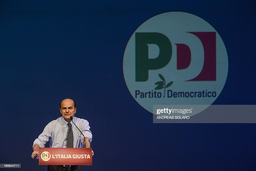 Leader of the Italian center left Democratic Party (PD) Pier Luigi Bersani addresses the audience during an electoral rally on February 1, 2013 in Florence. Bersani, the man polls show is likely to become Italian prime minister after this month's elections, vowed on February 5, 2013 to continue economic reforms credited with restoring his country's credibility.