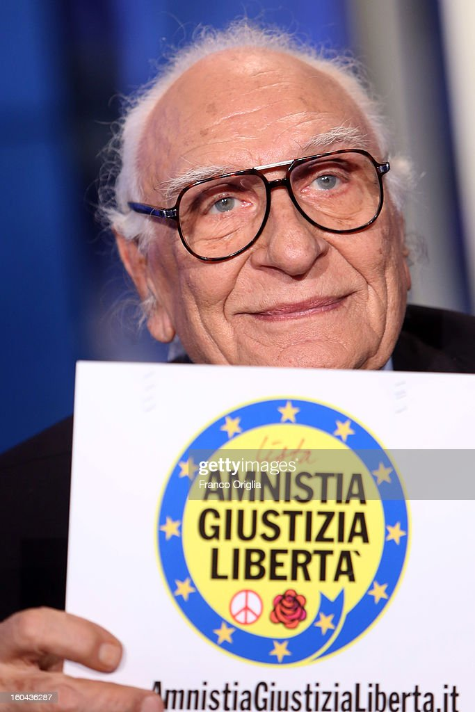 Leader of the Italian Radical party Marco Pannella showes the symbol of his party during 'Porta A Porta' TV show on January 31, 2013 in Rome, Italy. National Elections in Italy are scheduled for February 24.