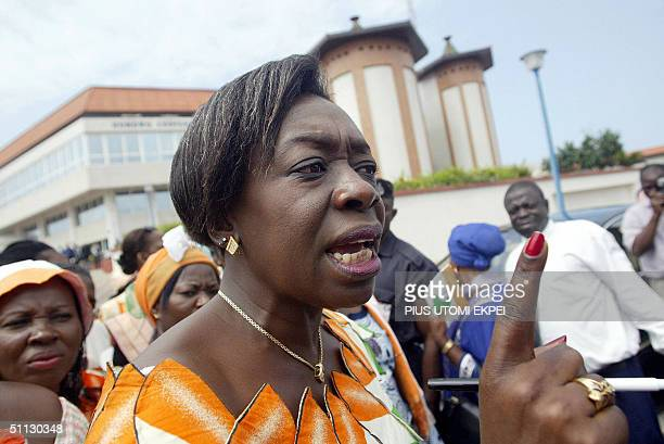Leader of the Ivorian women civil rights activits Genevieve BroGrebe gestures during a protest against the lingering civil unrest in their country at...