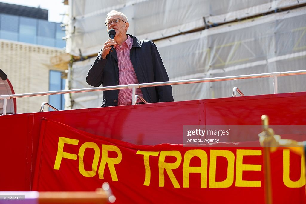 Leader of the Labour Party and Leader of the Opposition Jeremy Corbyn speaks at a May Day march in London, England to celebrate International Workers' Day on May 1, 2016.