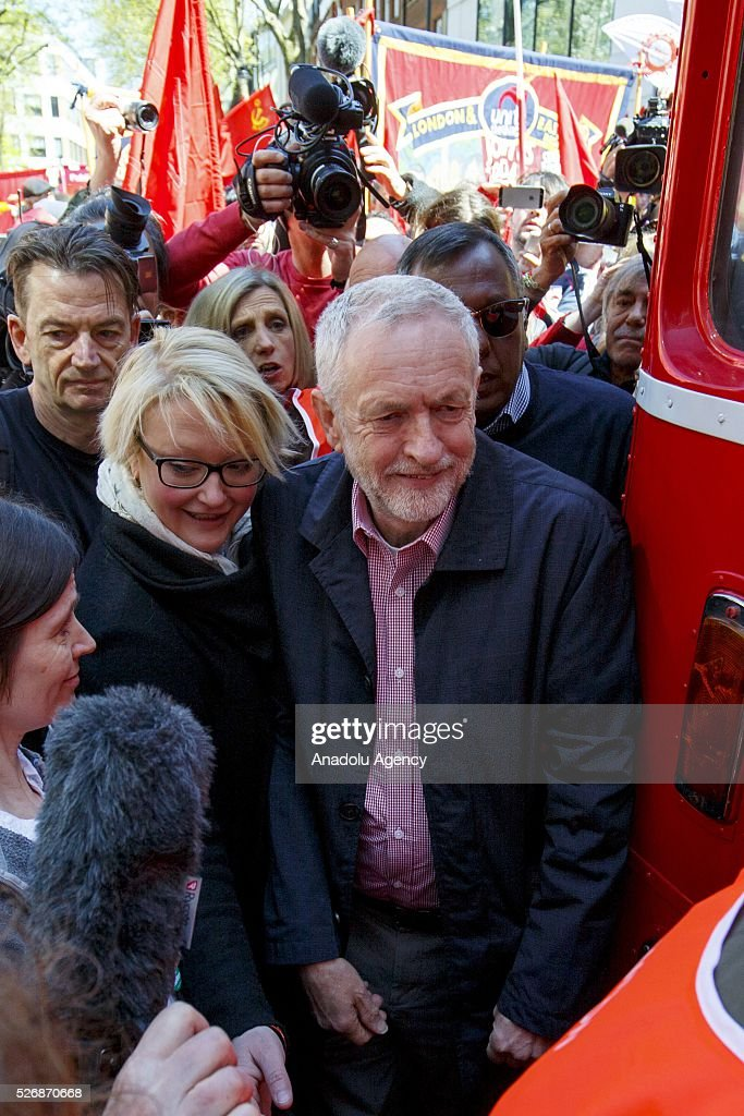 Leader of the Labour Party and Leader of the Opposition Jeremy Corbyn attends a May Day march in London, England to celebrate International Workers' Day on May 1, 2016.