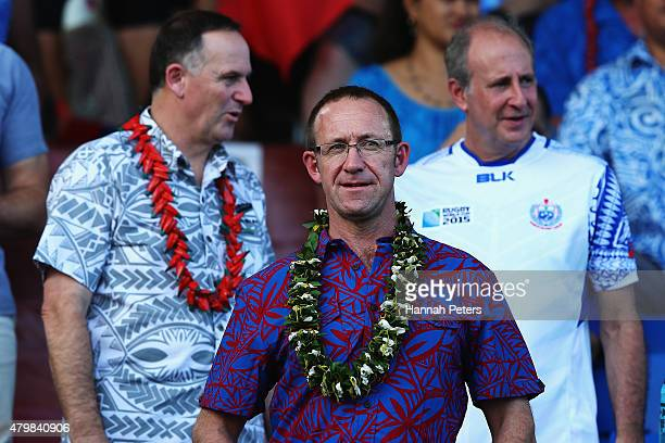 Leader of the Labour Party Andrew Little arrives for the International Test match between Samoa and the New Zealand All Blacks at Apia Stadium on...