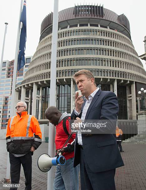 Leader of the Labour party David Cunliffe speaks to those protesting against the abduction of Nigerian schoolgirls at Parliament grounds on May 14...