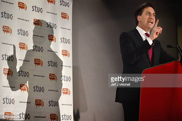 Leader of the Labour Party Ed Miliband addresses the STUC conference at Ayr Race Course on April 20 2015 in Ayr Scotland Mr Miliband urged elegates...