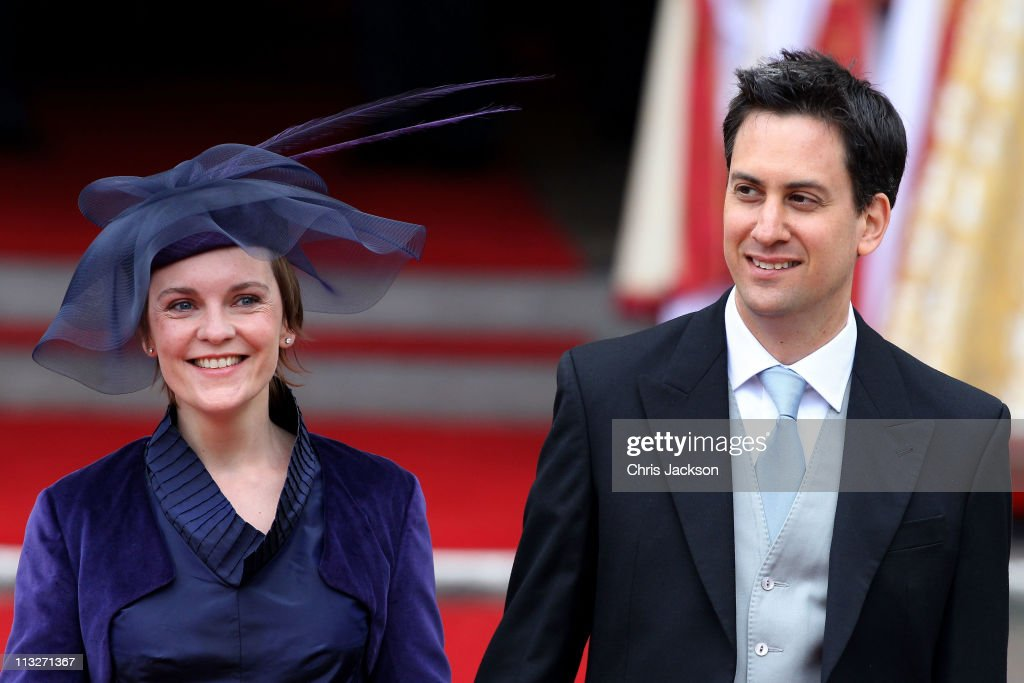 Leader of the Labour Party <a gi-track='captionPersonalityLinkClicked' href=/galleries/search?phrase=Ed+Miliband&family=editorial&specificpeople=4376337 ng-click='$event.stopPropagation()'>Ed Miliband</a> (R) and <a gi-track='captionPersonalityLinkClicked' href=/galleries/search?phrase=Justine+Thornton&family=editorial&specificpeople=7217902 ng-click='$event.stopPropagation()'>Justine Thornton</a> exit following the marriage of Prince William, Duke of Cambridge and Catherine, Duchess of Cambridge at Westminster Abbey on April 29, 2011 in London, England. The marriage of the second in line to the British throne was led by the Archbishop of Canterbury and was attended by 1900 guests, including foreign Royal family members and heads of state. Thousands of well-wishers from around the world have also flocked to London to witness the spectacle and pageantry of the Royal Wedding.