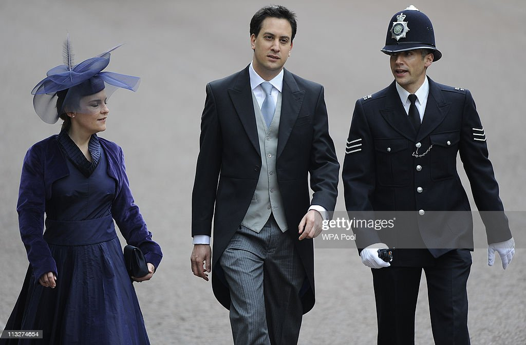 Leader of the Labour Party Ed Miliband and partner Justine Thornton arrives to attend the Royal Wedding of Prince William to Catherine Middleton at Westminster Abbey on April 29, 2011 in London, England. The marriage of the second in line to the British throne is to be led by the Archbishop of Canterbury and will be attended by 1900 guests, including foreign Royal family members and heads of state. Thousands of well-wishers from around the world have also flocked to London to witness the spectacle and pageantry of the Royal Wedding.