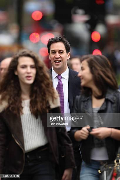 Leader of the Labour Party Ed Miliband arrives at his local polling station to cast his vote in the London council and mayoral elections on May 3...