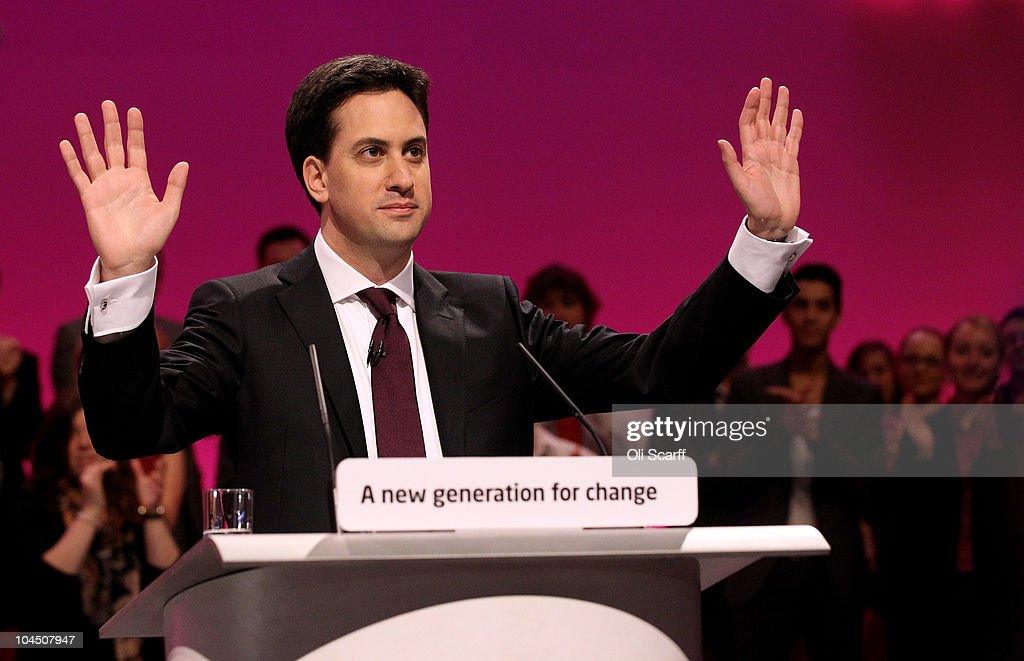 Leader of the Labour Party <a gi-track='captionPersonalityLinkClicked' href=/galleries/search?phrase=Ed+Miliband&family=editorial&specificpeople=4376337 ng-click='$event.stopPropagation()'>Ed Miliband</a> delivers his keynote speech to party members on September 28, 2010 in Manchester, England. On the fourth day of his leadership <a gi-track='captionPersonalityLinkClicked' href=/galleries/search?phrase=Ed+Miliband&family=editorial&specificpeople=4376337 ng-click='$event.stopPropagation()'>Ed Miliband</a> called on members to move forward into a new era and that he is part of a new generation and is set to move away from Brown and Blair era.