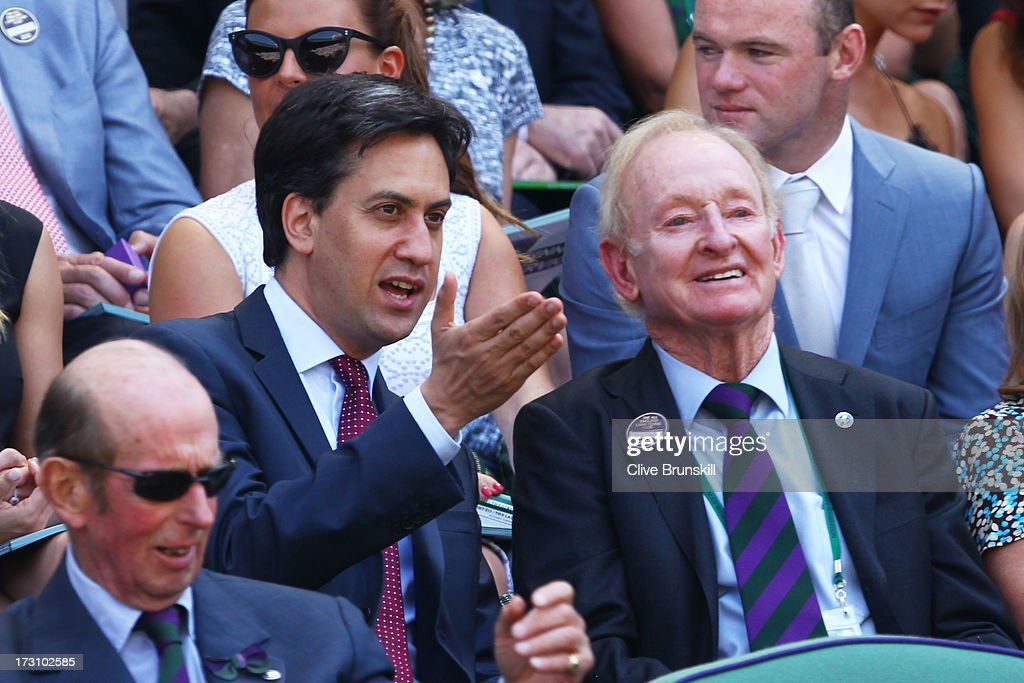 Leader of the Labour Party Ed Miliband speaks with Rod Laver before the Gentlemen's Singles Final match between Andy Murray of Great Britain and Novak Djokovic of Serbia on day thirteen of the Wimbledon Lawn Tennis Championships at the All England Lawn Tennis and Croquet Club on July 7, 2013 in London, England.