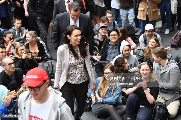Leader of the Labour Party Jacinda Ardern arrives to speak with university students during a visit to Victoria University in Wellington on September...