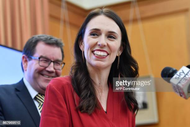 Leader of the Labour party Jacinda Ardern speaks at a press conference at Parliament in Wellington on October 19 2017 Outgoing New Zealand Prime...