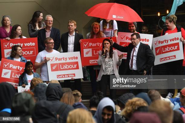 Leader of the Labour Party Jacinda Ardern speaks to university students during a visit to Victoria University in Wellington on September 19 2017 New...