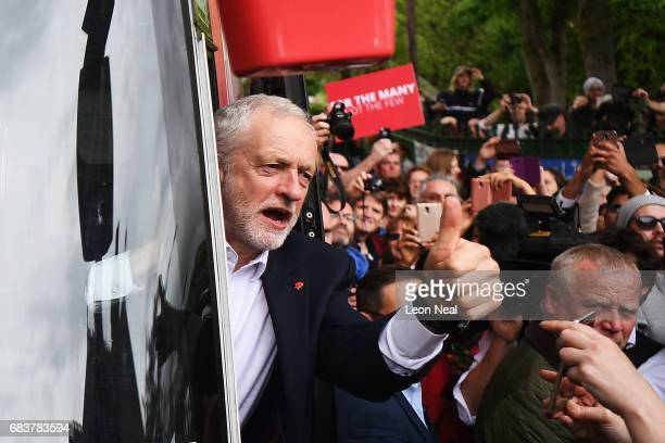 Leader of the Labour Party Jeremy Corbyn acknowledges supporters after attending a campaign rally in Beaumont Park after launching the Labour Party...