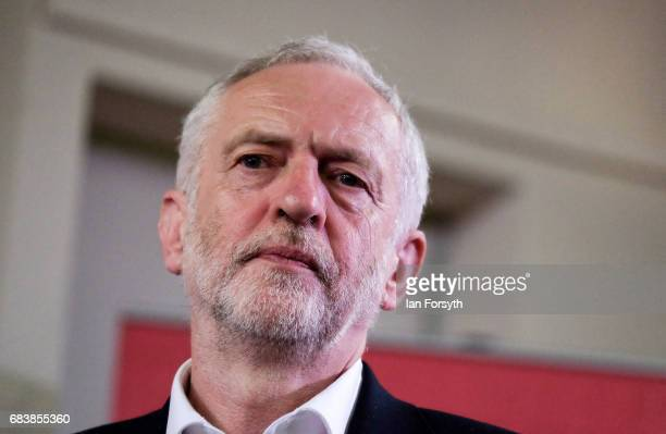 Leader of the Labour Party Jeremy Corbyn addresses party supporters during a speech at an election rally on May 16 2017 in Pudsey United Kingdom The...