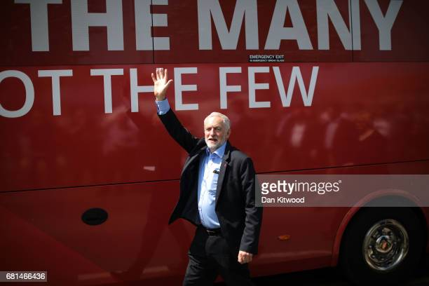 Leader of the Labour Party Jeremy Corbyn attends a campaign rally at Garforth Leisure Centre on May 10 2017 in Garforth England Mr Corbyn is...