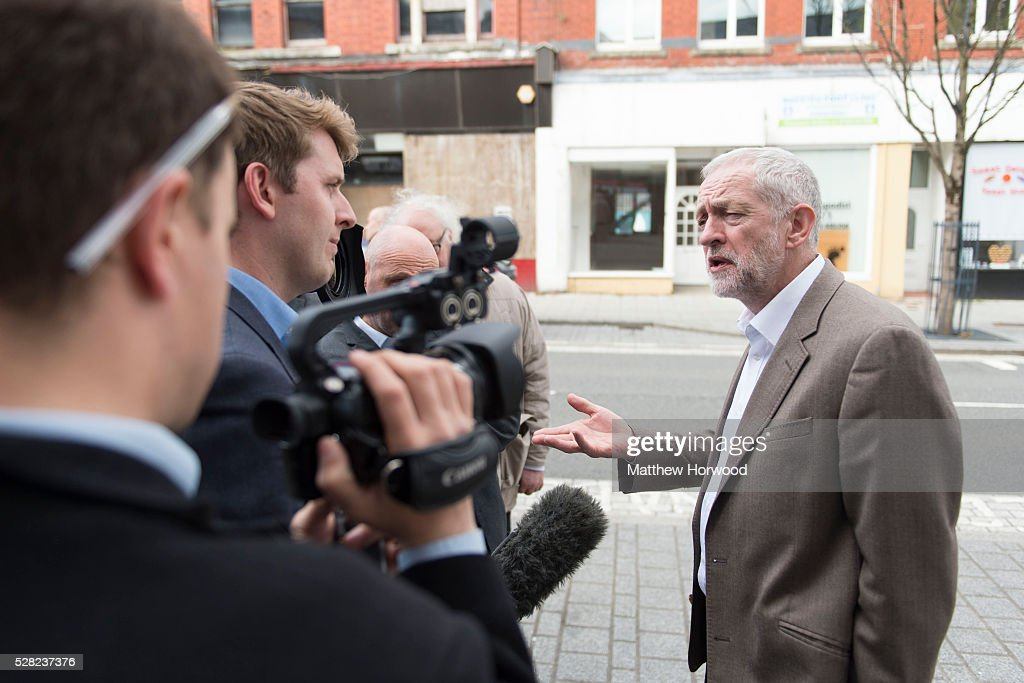 Leader of the Labour Party <a gi-track='captionPersonalityLinkClicked' href=/galleries/search?phrase=Jeremy+Corbyn&family=editorial&specificpeople=2596361 ng-click='$event.stopPropagation()'>Jeremy Corbyn</a> is interviewed during a visit to Maesteg on May 4, 2016 in Bridgend, Wales. Tomorrow the UK will go to the polls to vote for assembly members, councillors, mayors and police commissioners.