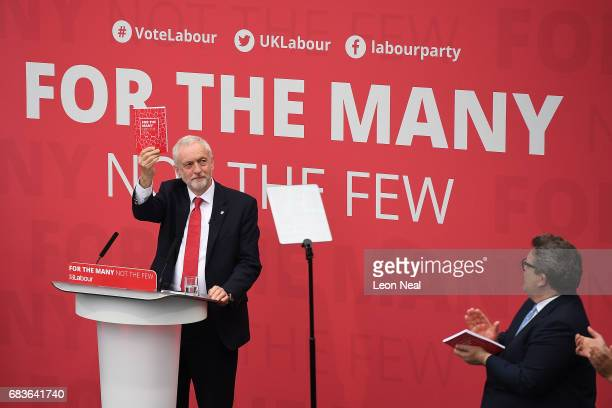 Leader of the Labour Party Jeremy Corbyn launches the Labour Party Election Manifesto at Bradford University on May 16 2017 in Bradford England...