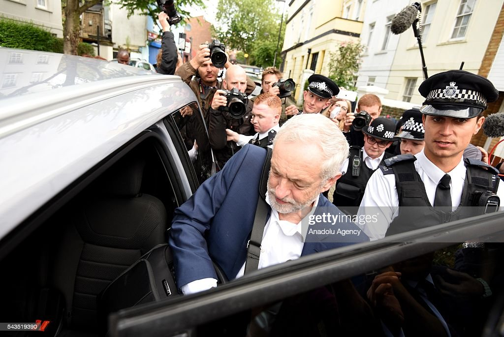 Leader of the Labour Party, Jeremy Corbyn leaves his house the day after a motion of no confidence was passed by the Labour party MP's, in London, United Kingdom on June 29, 2016. The 172-40 vote, which is not binding, follows resignations from the shadow cabinet and calls on Mr Corbyn to quit.