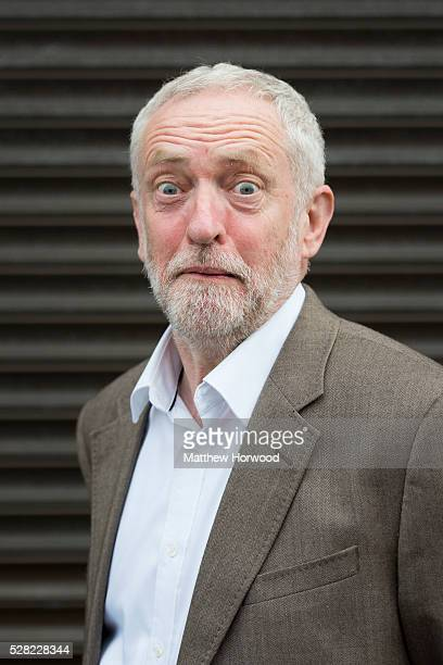 Leader of the Labour Party Jeremy Corbyn poses for a picture during a visit to Maesteg on May 4 2016 in Maesteg Wales Tomorrow the UK will go to the...