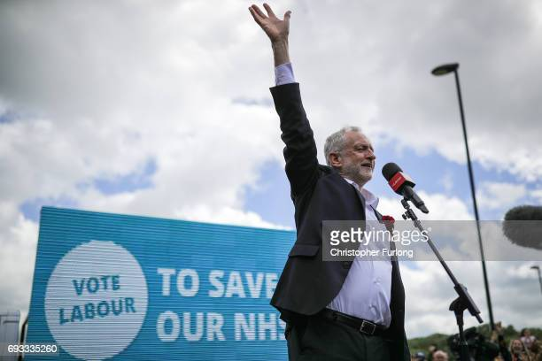 Leader of the Labour Party Jeremy Corbyn speaks during a campaign rally at Phoenix Park on June 7 2017 in Runcorn England The Labour leader is...