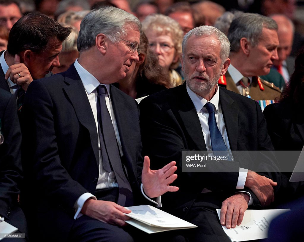 Leader of the Labour Party <a gi-track='captionPersonalityLinkClicked' href=/galleries/search?phrase=Jeremy+Corbyn&family=editorial&specificpeople=2596361 ng-click='$event.stopPropagation()'>Jeremy Corbyn</a> (R) speaks with British Defence Secretary <a gi-track='captionPersonalityLinkClicked' href=/galleries/search?phrase=Michael+Fallon+-+Politician&family=editorial&specificpeople=13243418 ng-click='$event.stopPropagation()'>Michael Fallon</a> before a Service on the Eve of the Centenary of the Battle of the Somme at Westminster Abbey on June 30, 2016 in London, United Kingdom.