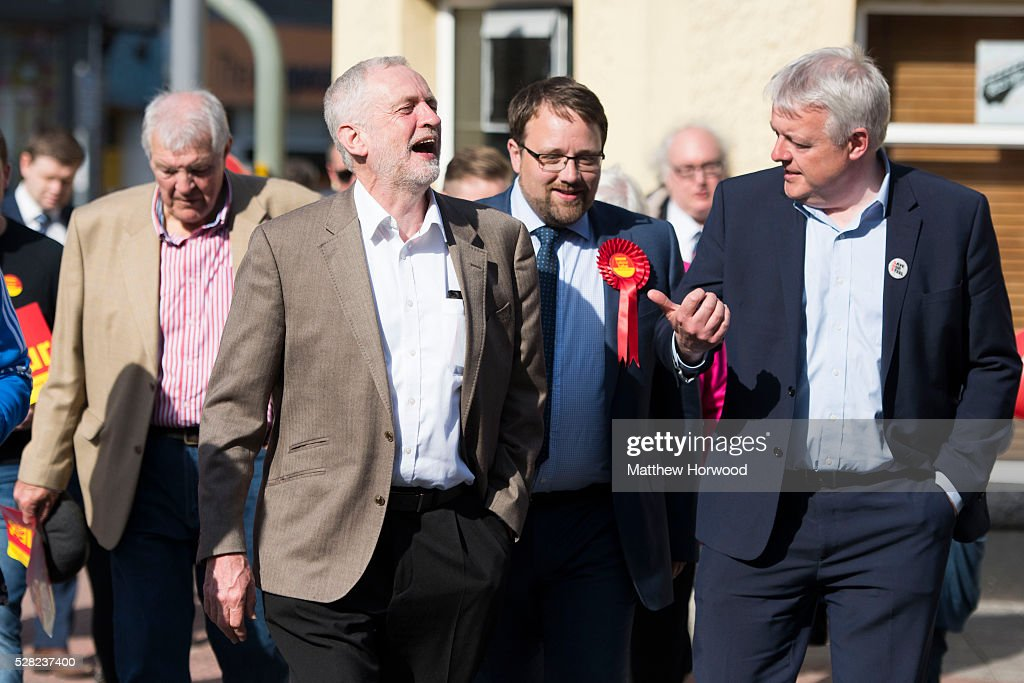 Leader of the Labour Party <a gi-track='captionPersonalityLinkClicked' href=/galleries/search?phrase=Jeremy+Corbyn&family=editorial&specificpeople=2596361 ng-click='$event.stopPropagation()'>Jeremy Corbyn</a> (L) with by-election candidate Chris Elmore (C) and First Minister Carwyn Jones (R) during a visit to Maesteg on May 4, 2016 in Bridgend, Wales. Tomorrow the UK will go to the polls to vote for assembly members, councillors, mayors and police commissioners.
