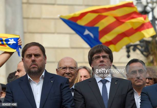 Leader of the leftwing party Esquerra Republicana Catalan regional vicepresident and chief of Economy and Finance Oriol Junqueras and Catalan...