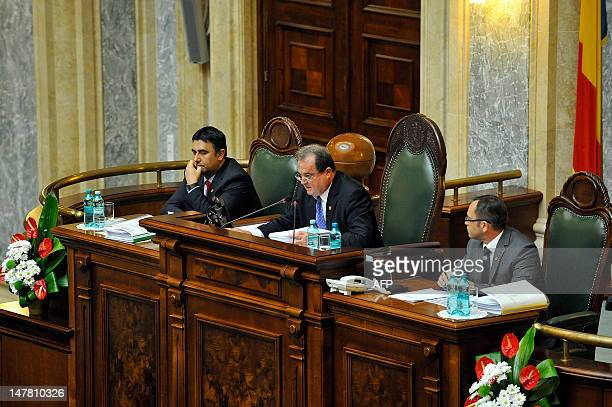 Leader of the Liberal Democrat Party and Senate speaker Vasile Blaga delivers a speech in Bucharest on July 3 shortly before being sacked by Romanian...