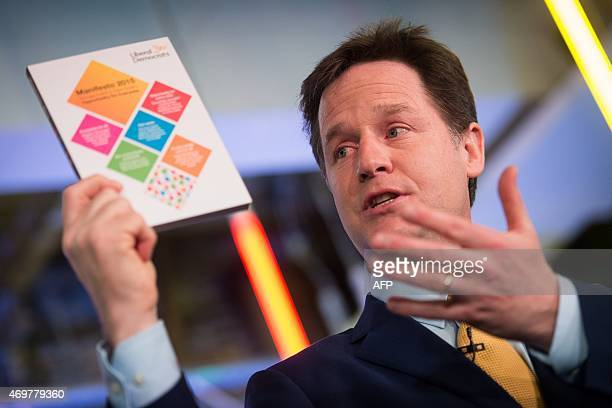 Leader of the Liberal Democrat Party Nick Clegg unveils their election manifesto in south London on April 15 2015 AFP PHOTO / LEON NEAL