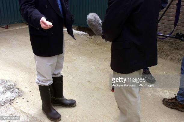 Leader of the Liberal Democrats Charles Kennedy in Wellington boots is interviewed during his visit to The Beddington ZeroEnergy Site in Hackbridge...