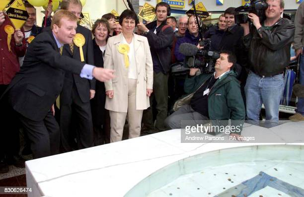 Leader of the Liberal Democrats Party Charles Kennedy on a walkabout at Gyle Shopping Centre Edinburgh Wednesday 6th June 2001 Charles Kennedy tosses...