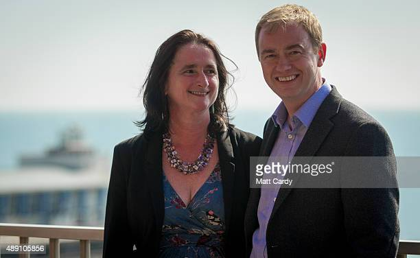 Leader of the Liberal Democrats Tim Farron and his wife Rosemary arrive to speak with media ahead of the Liberal Democrats annual conference on...