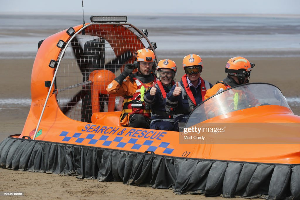 Leader of the Liberal Democrats Tim Farron and Tessa Munt MP give the thumbs up as they pose for a photo on a search and rescue boat as he campaigns at a volunteer-run Rescue Boat Service on May 9, 2017 at Burnham-on-Sea, England. Campaigning is underway ahead of the June 8th general election.