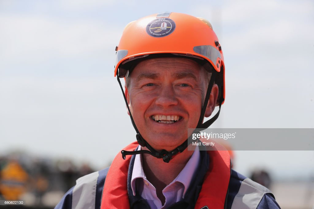 Leader of the Liberal Democrats Tim Farron campaigns at a volunteer-run Rescue Boat Service on May 9, 2017 at Burnham-on-Sea, England. Campaigning is underway ahead of the June 8th general election.