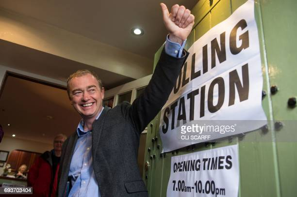 Leader of the Liberal Democrats Tim Farron is pictured at a polling station in Kendal northwest England on June 8 as Britain holds a general election...