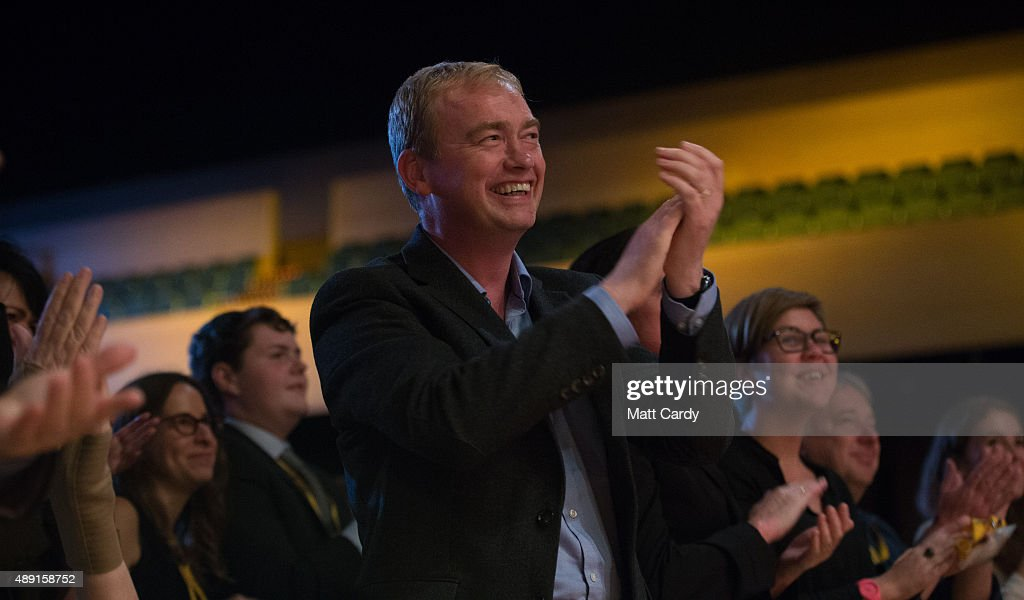 Leader of the Liberal Democrats Tim Farron listens to speakers at a Members' Rally on the first day of the Liberal Democrats annual conference on September 19, 2015 in Bournemouth, England. The Liberal Democrats are currently holding their annual conference using the hashtag #LibDemfightback in Bournemouth. The conference is the first since the party lost all but eight of its MPs in May's UK general election, however after gaining 20,000 new members since May the party is expecting a record attendance at the event being held at the Bournemouth International Centre.