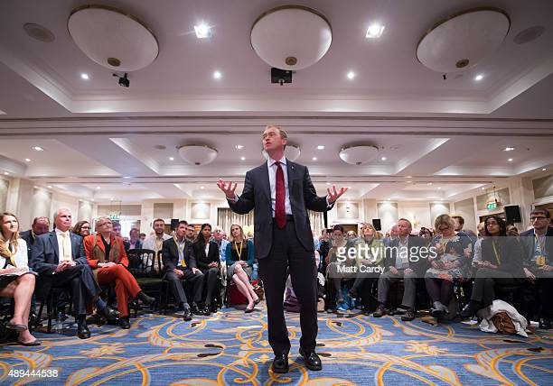 Leader of the Liberal Democrats Tim Farron speaks at a proEuropean rally hosted by Business for New Europe and Liberal Democrat European Group on the...