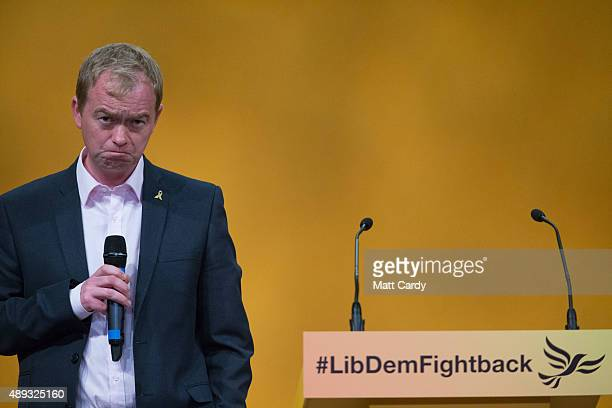 Leader of the Liberal Democrats Tim Farron speaks on the second day of the Liberal Democrats annual conference on September 20 2015 in Bournemouth...