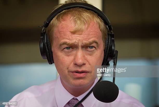 Leader of the Liberal Democrats Tim Farron speaks to media on the second day of the Liberal Democrats annual conference on September 20 2015 in...