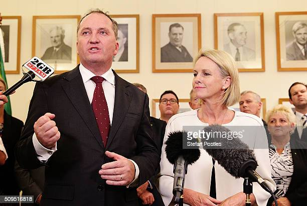 Leader of the National Party Barnaby Joyce holds a press conference with his Deputy Leader Fiona Nash in the National Party room at Parliament House...