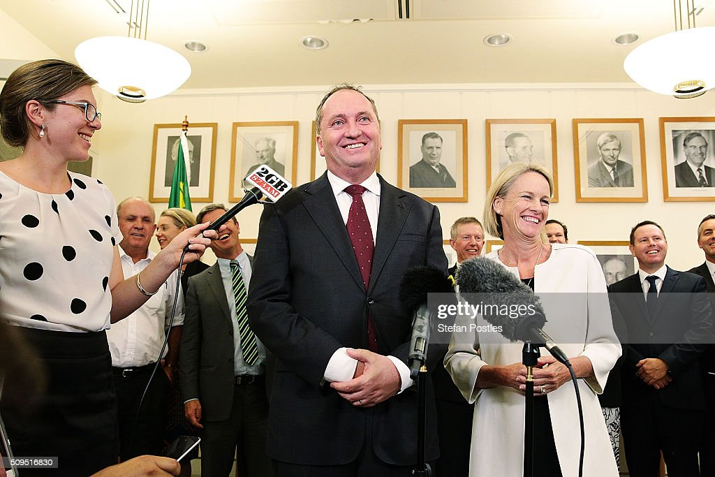 Leader of the National Party Barnaby Joyce holds a press conference with his Deputy Leader Fiona Nash in the National Party room at Parliament House on February 11, 2016 in Canberra, Australia. Warren Truss announced his retirement earlier on Thursday, triggering a leadership ballot.