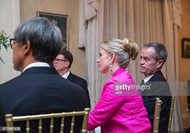 Leader of the opposition Australian Labor Party and his wife Chloe Shorten attend a dinner for US Vice President Joe Biden at Admiralty House in...