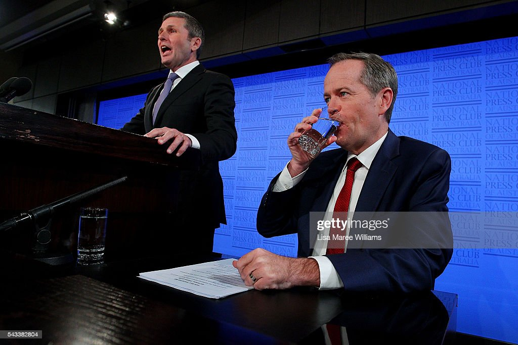 Leader of the Opposition, Australian Labor Party <a gi-track='captionPersonalityLinkClicked' href=/galleries/search?phrase=Bill+Shorten&family=editorial&specificpeople=606712 ng-click='$event.stopPropagation()'>Bill Shorten</a> aarives at the National Press Club on June 28, 2016 in Canberra, Australia. <a gi-track='captionPersonalityLinkClicked' href=/galleries/search?phrase=Bill+Shorten&family=editorial&specificpeople=606712 ng-click='$event.stopPropagation()'>Bill Shorten</a> used the opportunity to announce that the first bill he will put to Parliament if voted in on July 2 will be for marraige equality.