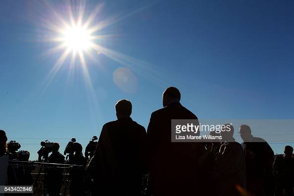 Leader of the Opposition Australian Labor Party Bill Shorten and Labor candidate for EdenMonaro Mike Kelly visit the Royalla Solar Farm on June 28...