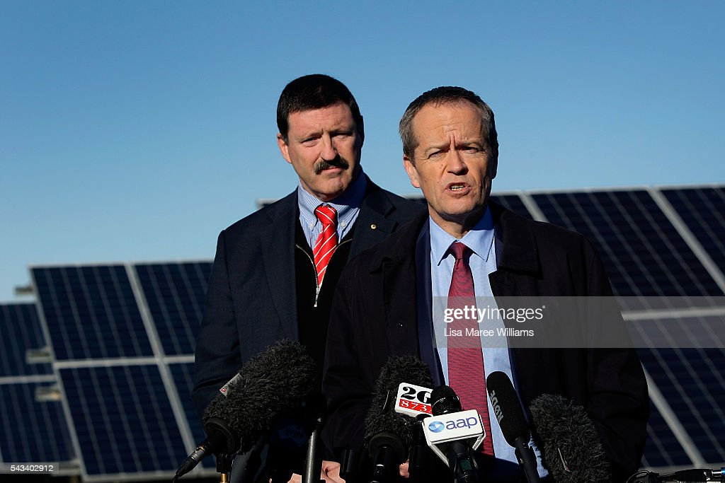 Leader of the Opposition, Australian Labor Party <a gi-track='captionPersonalityLinkClicked' href=/galleries/search?phrase=Bill+Shorten&family=editorial&specificpeople=606712 ng-click='$event.stopPropagation()'>Bill Shorten</a> (R) and Labor candidate for Eden-Monaro Mike Kelly visit the Royalla Solar Farm on June 28, 2016 in Canberra, Australia. Mr Shorten used the visit to outline Labor's policy plans for the renewable energy sector, address climate change and create jobs.